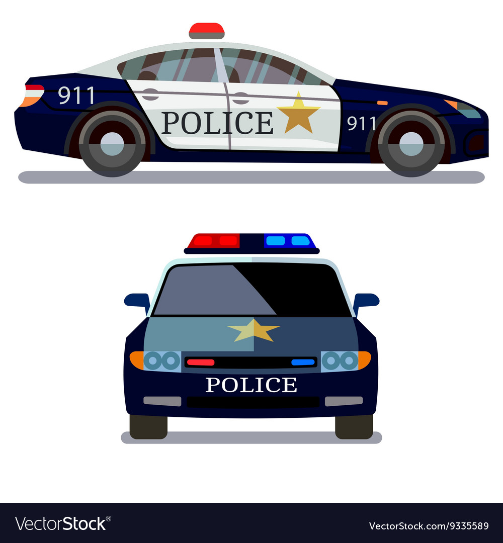 Police car front and side view vector