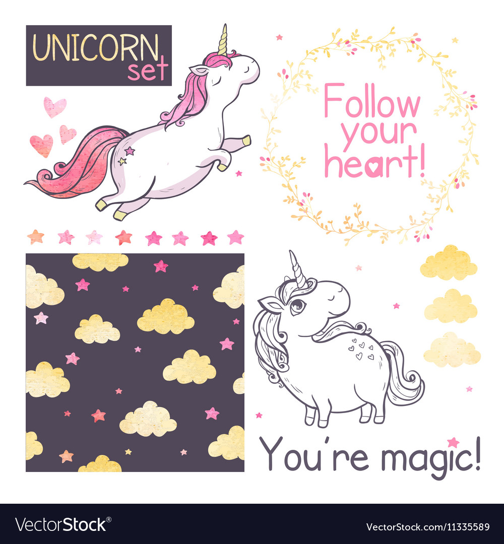 Unicorns set vector
