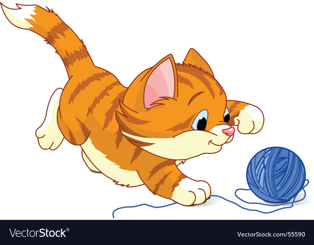 Playful kitten vector