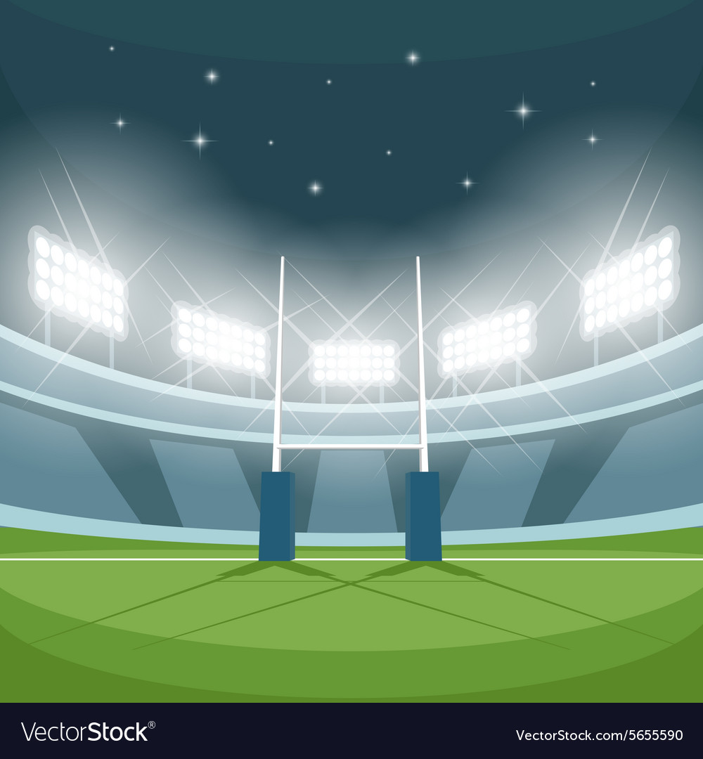 Rugby stadium with lights at night vector