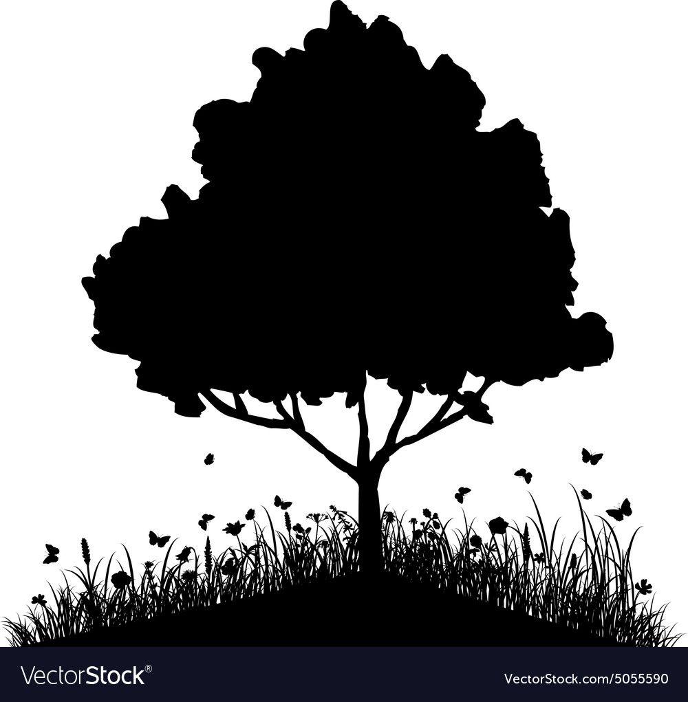 Tree on a hill with grass and butterflies vector