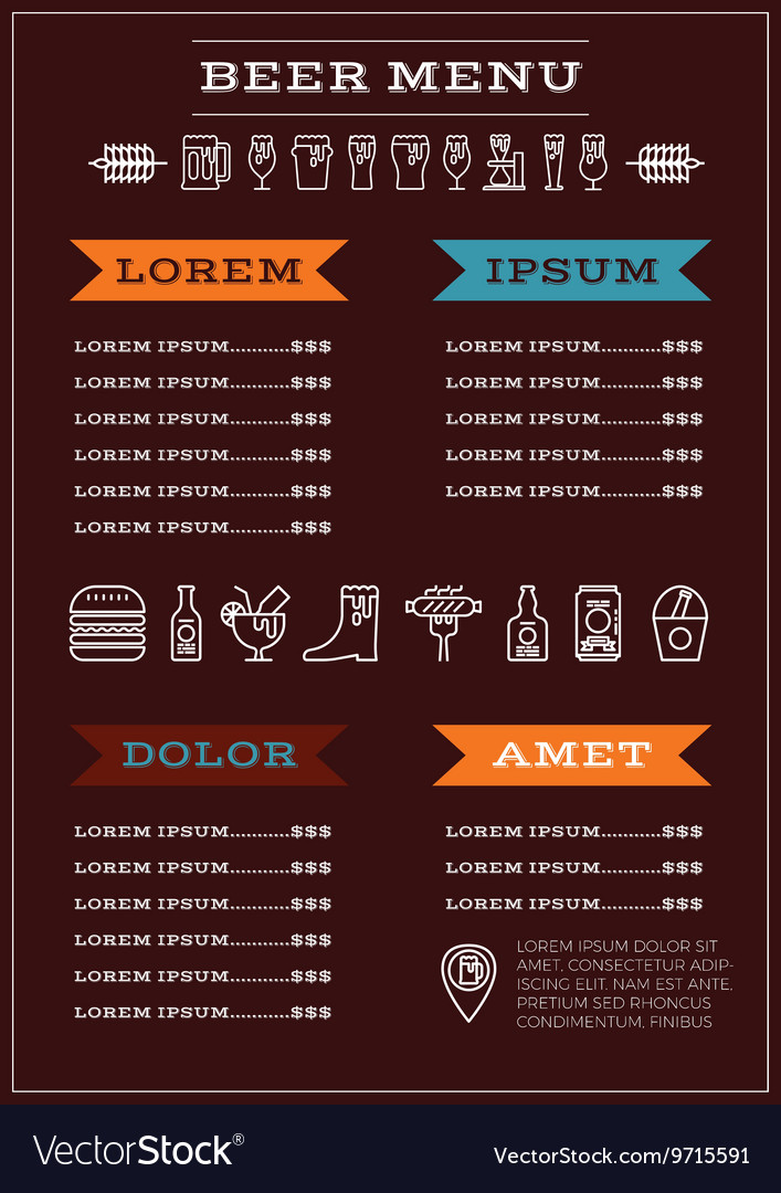 Beer menu template vector