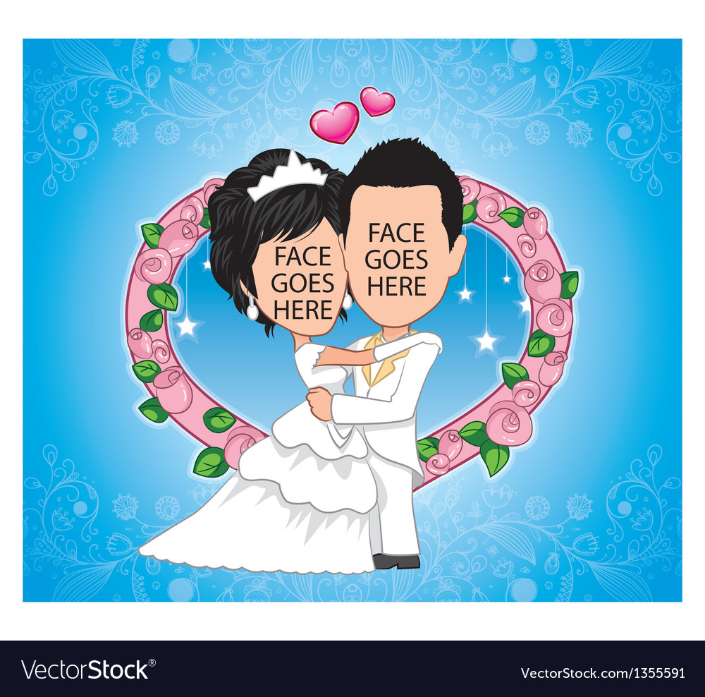 Bride and groom template vector