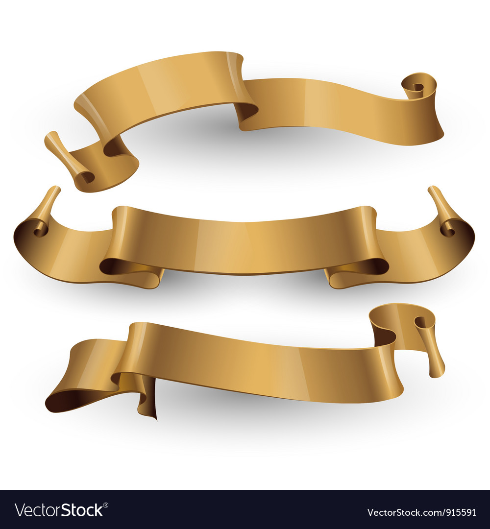 Gold glossy ribbons on a white background vector
