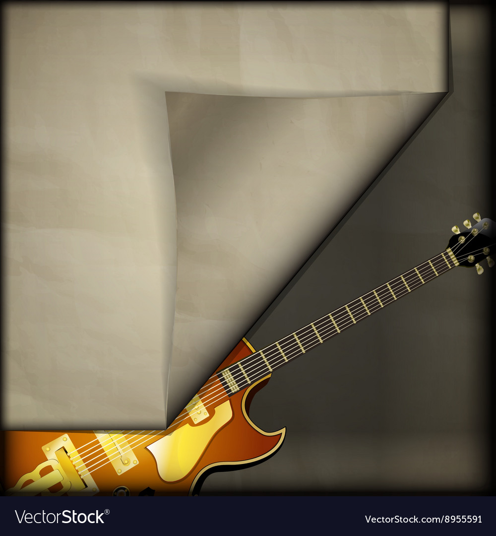 Jazz guitar with old paper background vector
