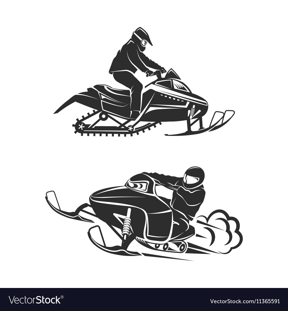 Snowmobiling silhouette on white background vector