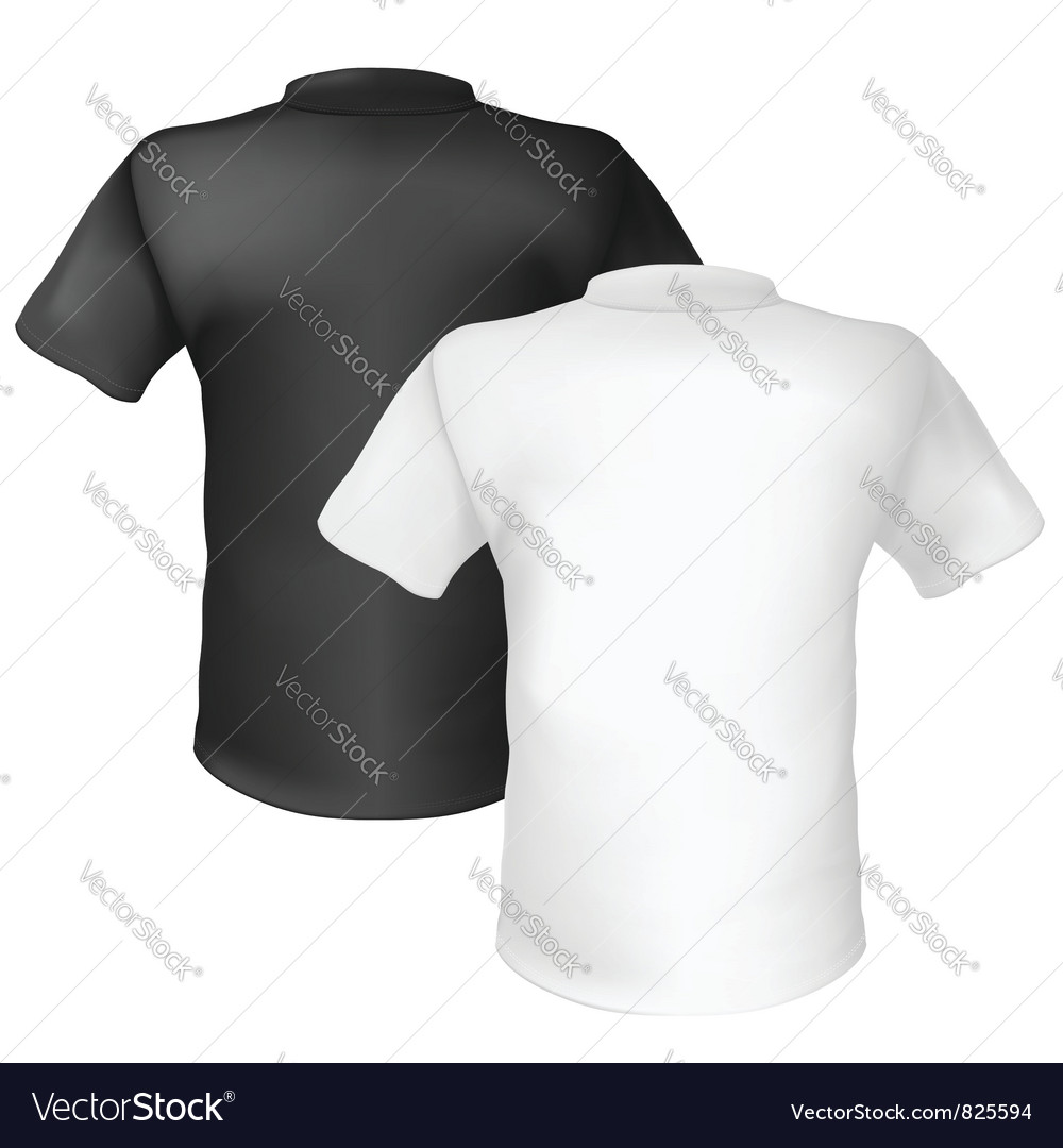 Black and white tshirt back view on white vector
