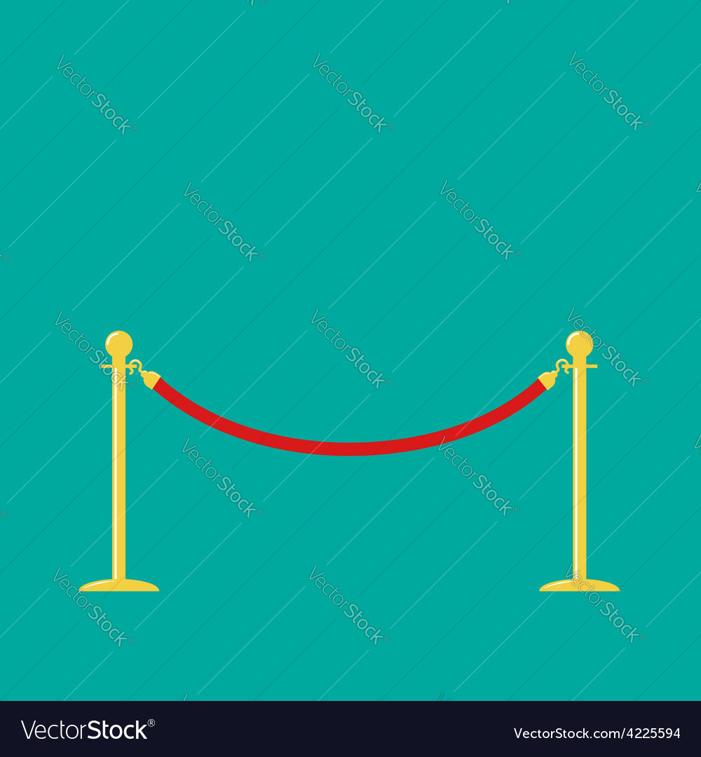 Red rope golden barrier stanchions turnstile green vector