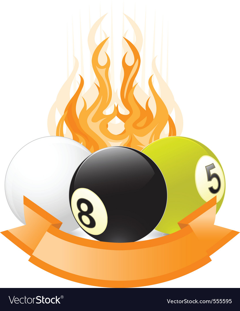 Billiard ball emblem in flame vector
