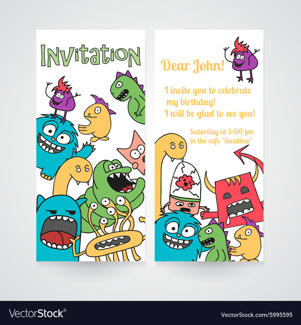 Card with abstract monsters pattern invitation vector