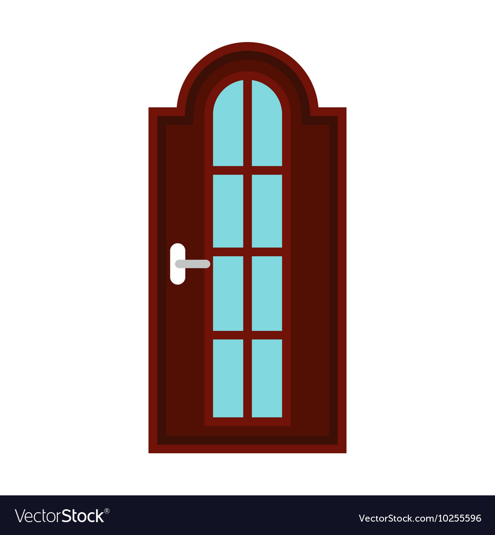 Brown arched interior door icon flat style vector