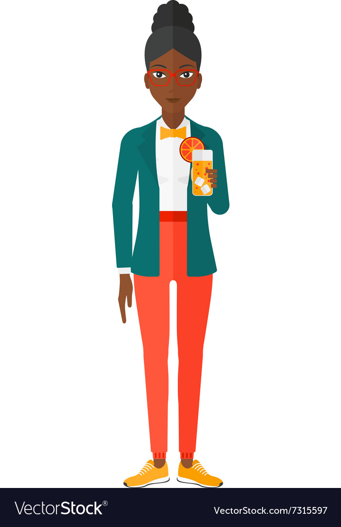 Woman holding glass of juice vector