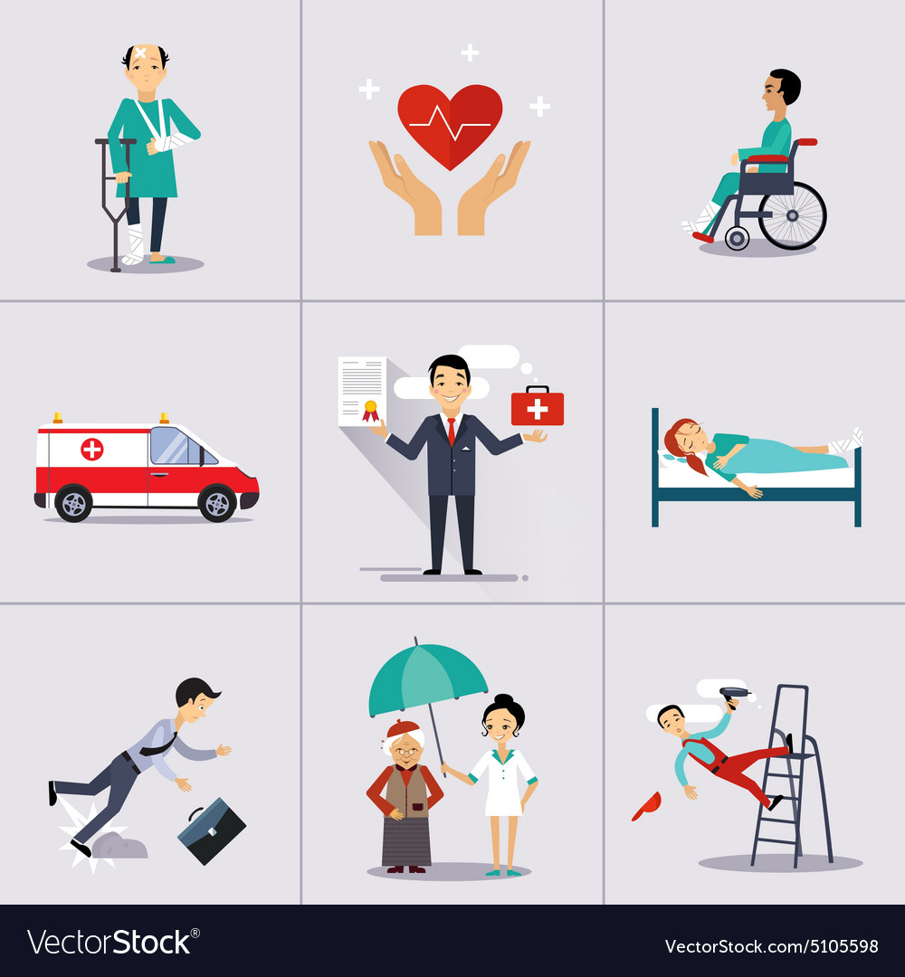 Insurance character and icons template vector