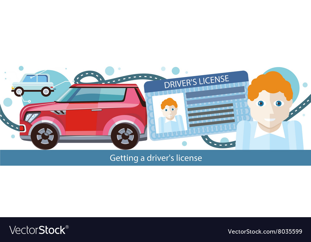 Cartoons man with driver license vector