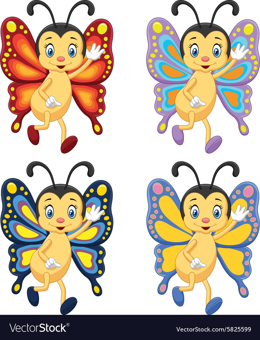 Collection butterfly waving hand vector