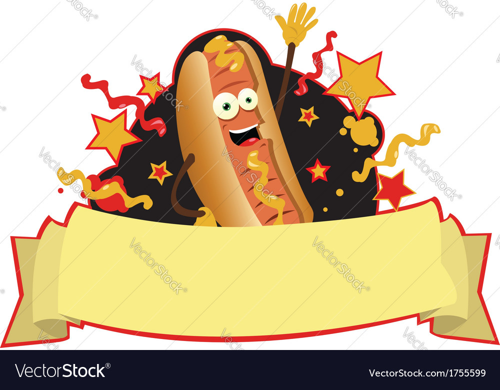 Funny hot dog banner vector