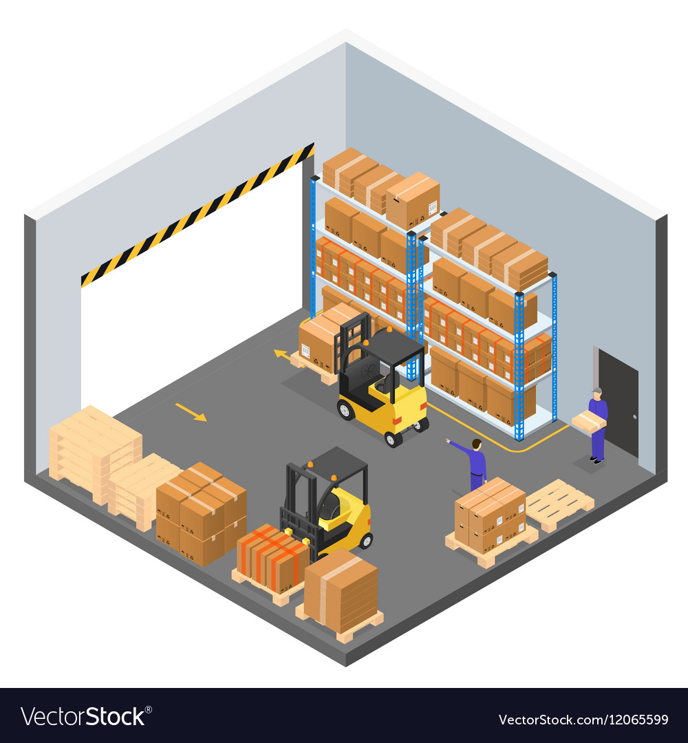 Interior warehouse building isometric view vector