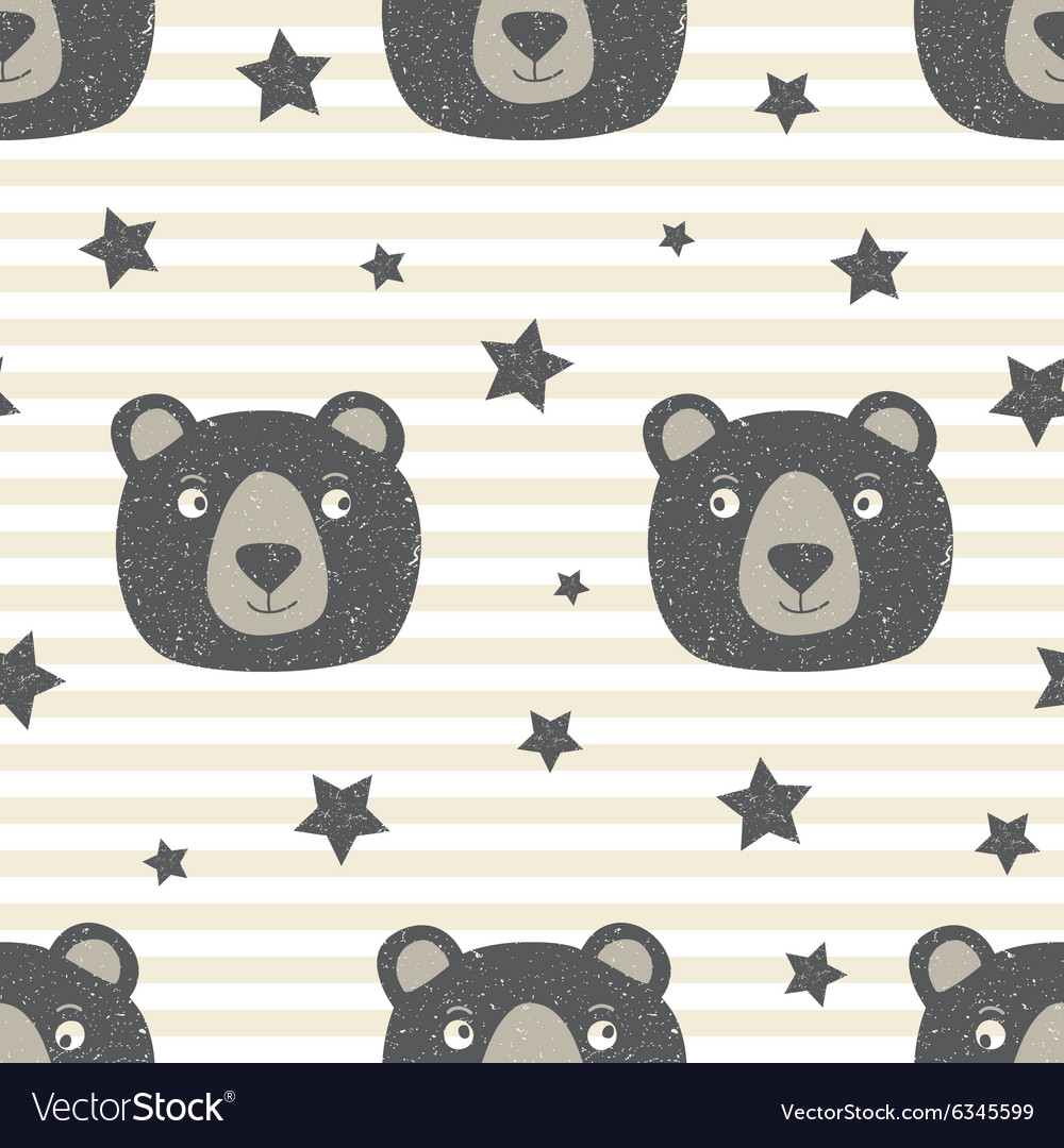 Pattern with teddy bear vector