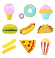Cute fast food icons set vector image