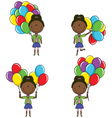 African-American girls with color balloons vector image vector image