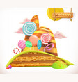 sweet land cake cupcake candy 3d icon vector image vector image