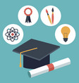 color background with closeup graduation cap and vector image