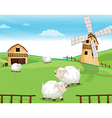 A farm at the hills with sheeps vector image vector image