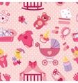 Newborn Baby girl seamless patternPolka dot vector image