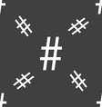 hash tag icon Seamless pattern on a gray vector image