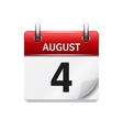 August 4 flat daily calendar icon Date vector image