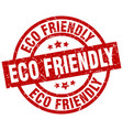 eco friendly round red grunge stamp vector image