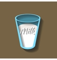 Glass of milk paper cut style vector image