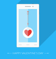 Heart icon and arrow on the smartphones display vector image