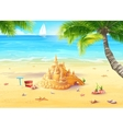 the sea shore with palm trees vector image