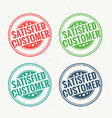 Satisfied customer rubber stamp set in four vector image