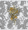 Gold metal with floral pattern seamless golden vector image