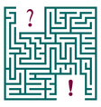 A green labyrinth with a question and exclamation vector image