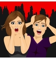 scared couple screaming vector image