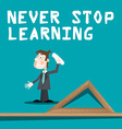 Never Stop Learning Slogan with Teacher with Chalk vector image vector image