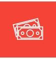 Money banknotes line icon vector image