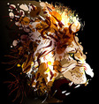 Digital painting of a lions head vector image