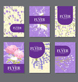 Collection of square cards with delicate flowers vector image