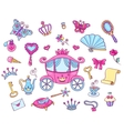 Cute princess set with carriage vector image