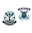 Nautical and marine themed badges vector image