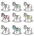 Rocking horse icons set vector image