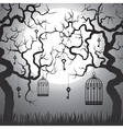 trees with cages at night vector image