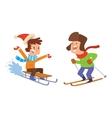 Christmas kids playing winter games vector image
