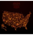 USA map low poly red fire vector image