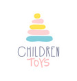 children toys logo colorful hand drawn vector image