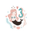 cute with mermaid and seahorse vector image